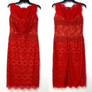 Tadashi Shoji Red Lace sleeveless Dress sz 6 B64